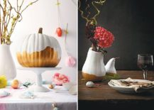 Paint dipped pumpkin centerpiece