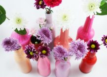 Painted bottle vases 217x155 18 Festive Wine Bottle Centerpieces for Chic People