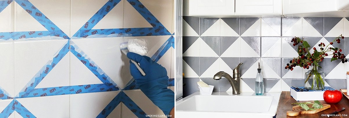 Painted geo tile backsplash