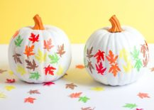 Painted pumpkins with fall leaf pattern serve you well beyond Halloween