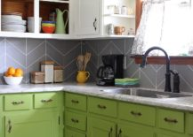 Painted tile backsplash from My Blessed Life
