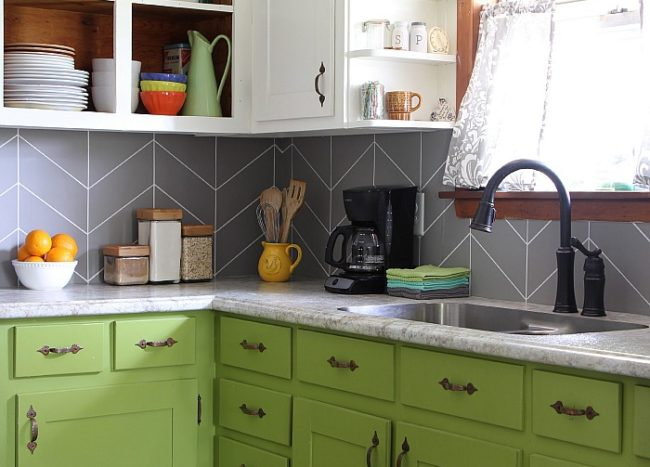 Paint backsplash tiles