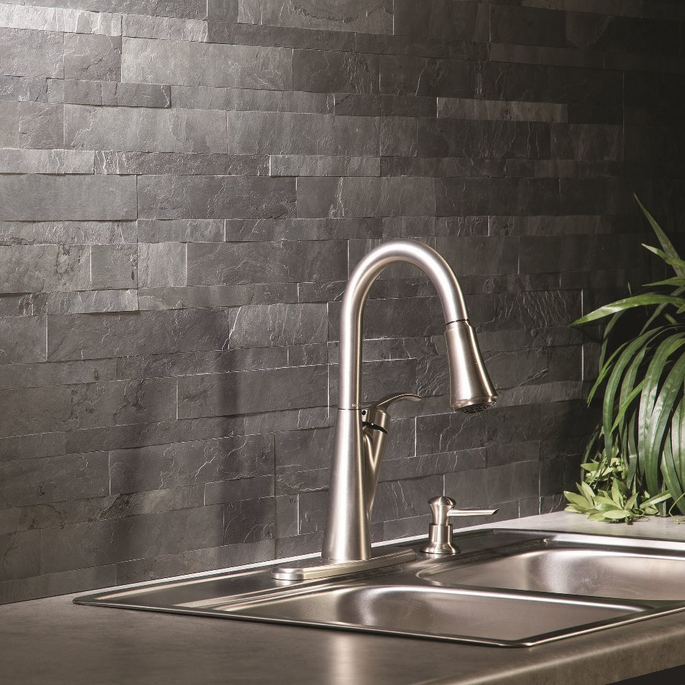 Peel-and-stick stone backsplash