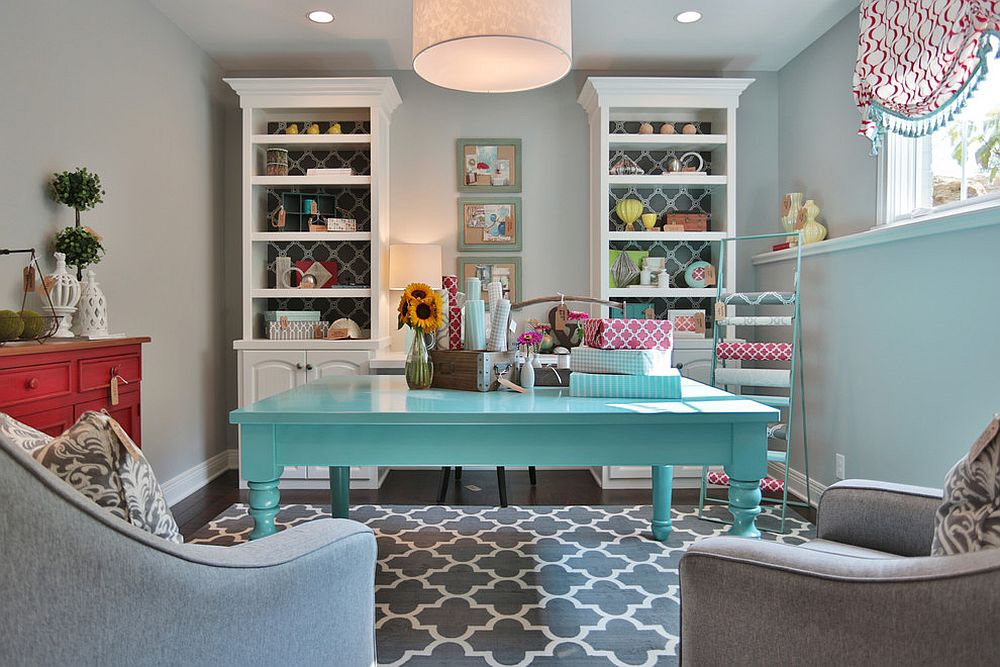 Pick a shade of blue you absolutely love to enliven the gray home office and crafts zone [Design: Set The Stage]