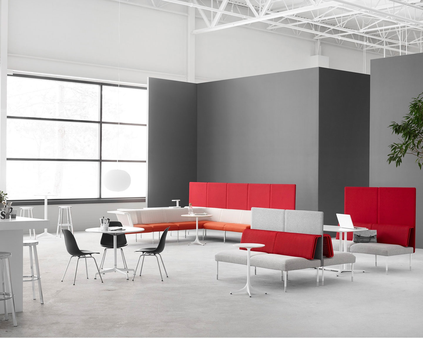 The Plaza concept by Herman Miller offers a smart break-out space. Furniture includes Herman Miller's Public Office Landscape and Nelson Pedestal Table. Image © 2016 Herman Miller, Inc.