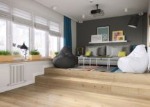 Podium style elevated living room and bedroom that makes for great TV and cinema viewing