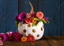 Polka dots painted pumpkin for a fun Halloween