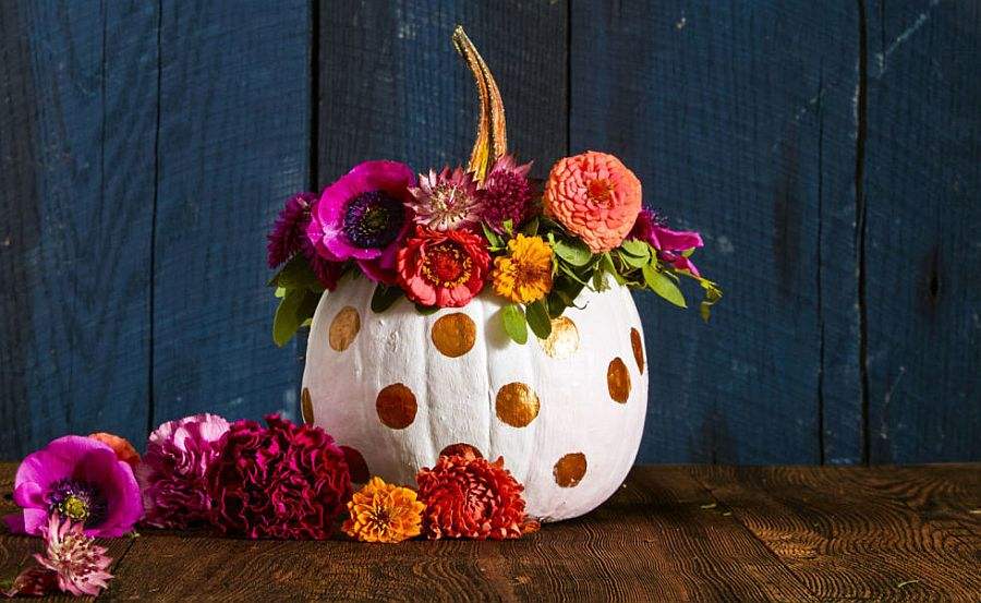 Polka dots painted pumpkin for a fun Halloween [From: Good Housekeeping]