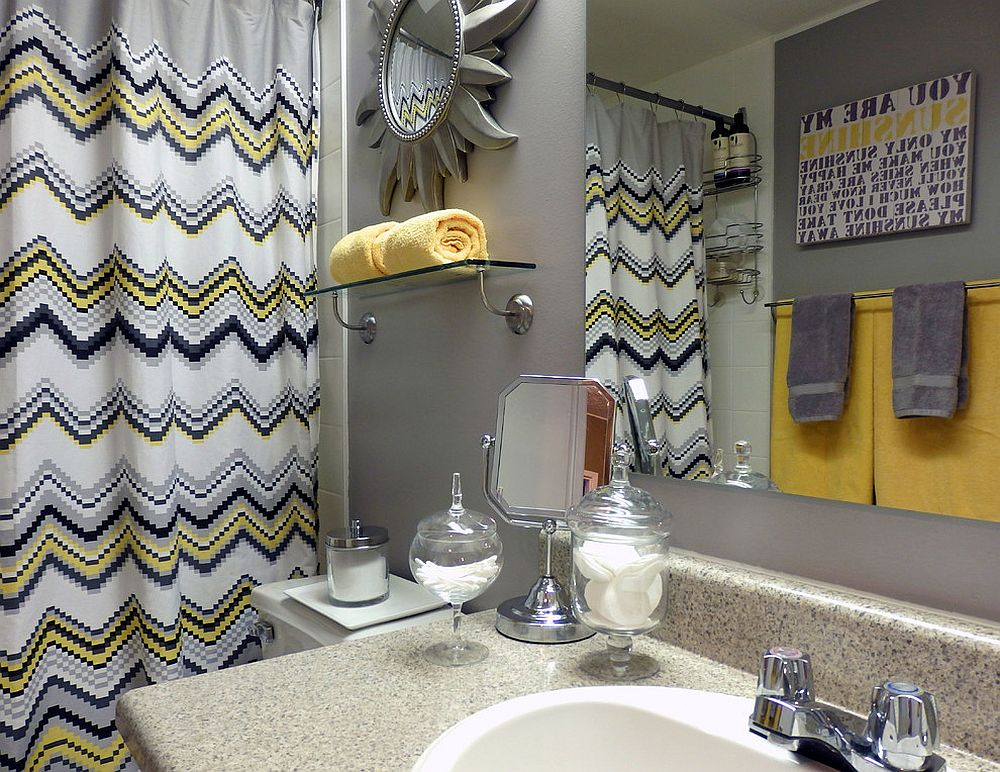 Pops of yellow enliven modern bathroom in gray [Design: Dominika Pate Interiors]