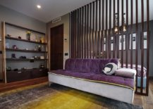 Purple adds color to the snazzy bedroom
