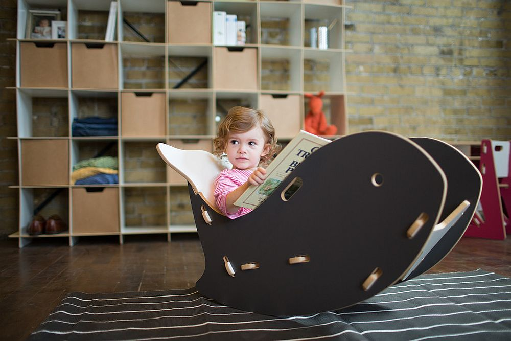 Quirky decor additions like the whale chair allow you to add black to the nursery in style [Design: Sprout, Quark Enterprises]