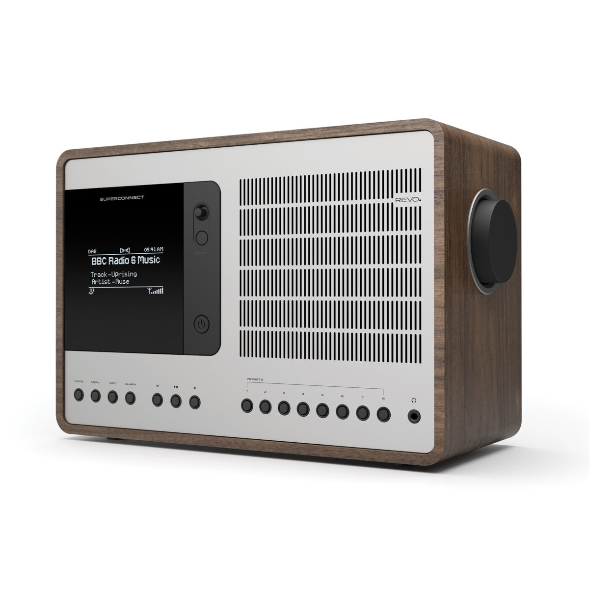 REVO SuperConnect in classic midcentury-esque American walnut and silver anodised aluminium.