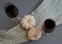 Red wine and pumpkins for a Halloween tablescape