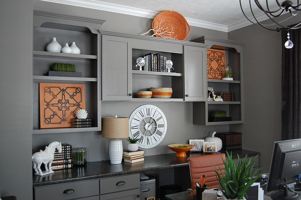 Refined contemporary home office in gray with pops of orange [Design: Shine Design]