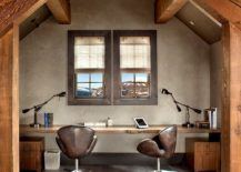 Rustic home office with sleek live edge desk 217x155 Natural Allure: 25 Home Offices That Celebrate the Charm of Live Edge Décor