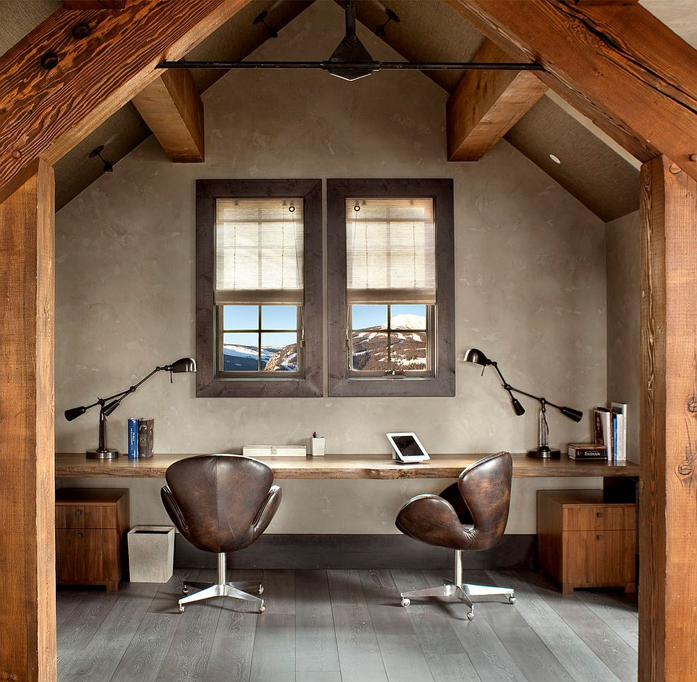 Rustic home office with sleek live edge desk [From: Locati Architects / Gibeon Photography]