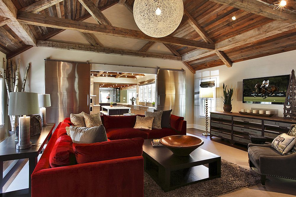 ... Rustic Living Room With Red Couch And Spacious Interior [Design:  Callaway Architects]