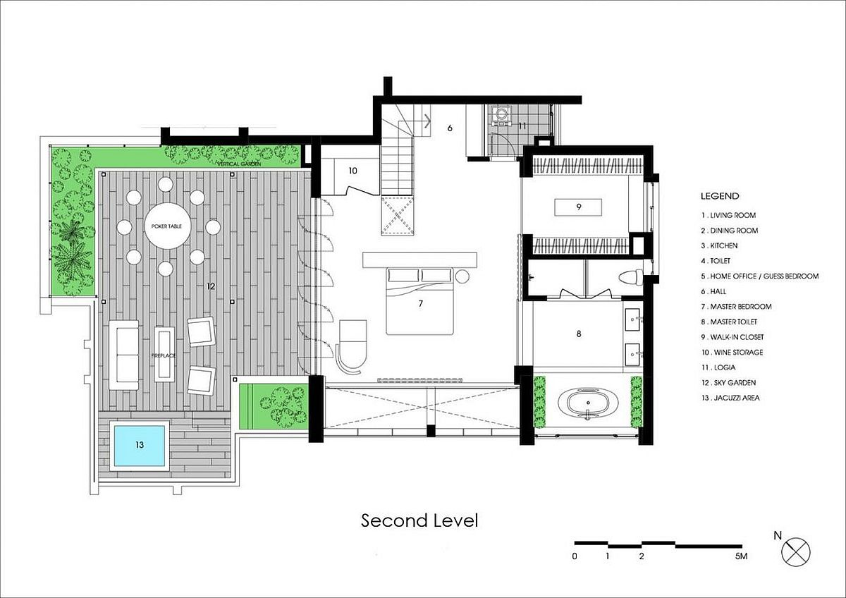 Second level floor plan of penthouse with sky garden