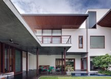 Series of cantilevers and overhangs create ample social space outdoors with shade