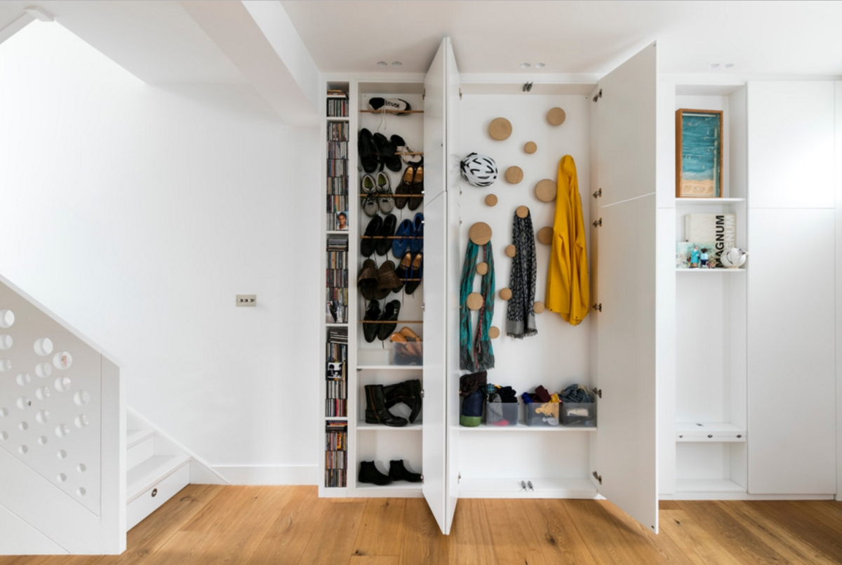 Shallow cabinets make good use of wall space