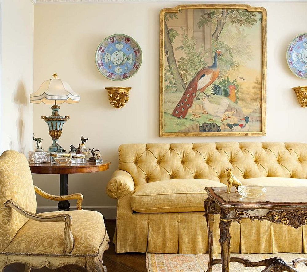 Skirted sofa in yellow for the traditional living room