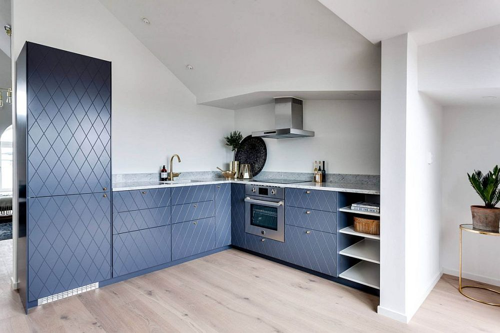 Small L-shaped, corner kitchen for the attic apartment