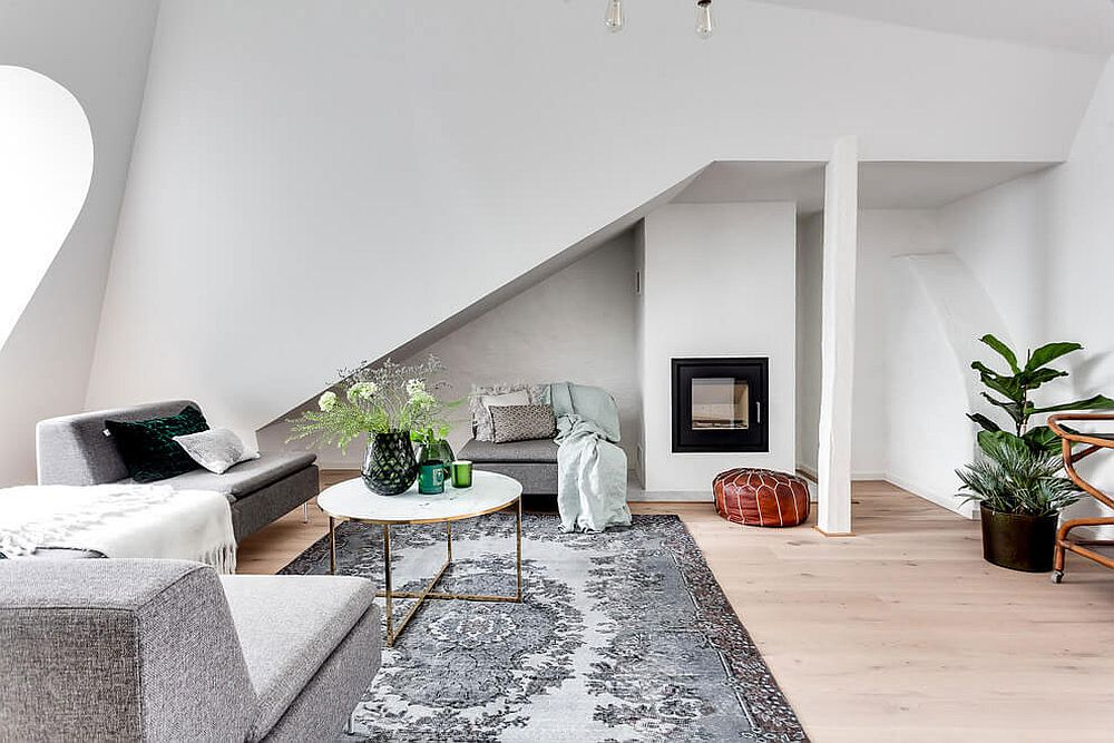 Small fireplace in the corner for the Scandinavian style living room