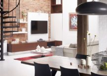 Small living area of the revamped industrial loft in Old Montreal