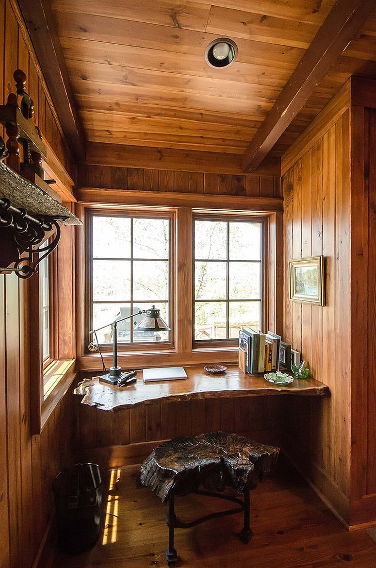 Small rustic home office with live edge work desk and chair [Design: Matheny Goldmon Architects]