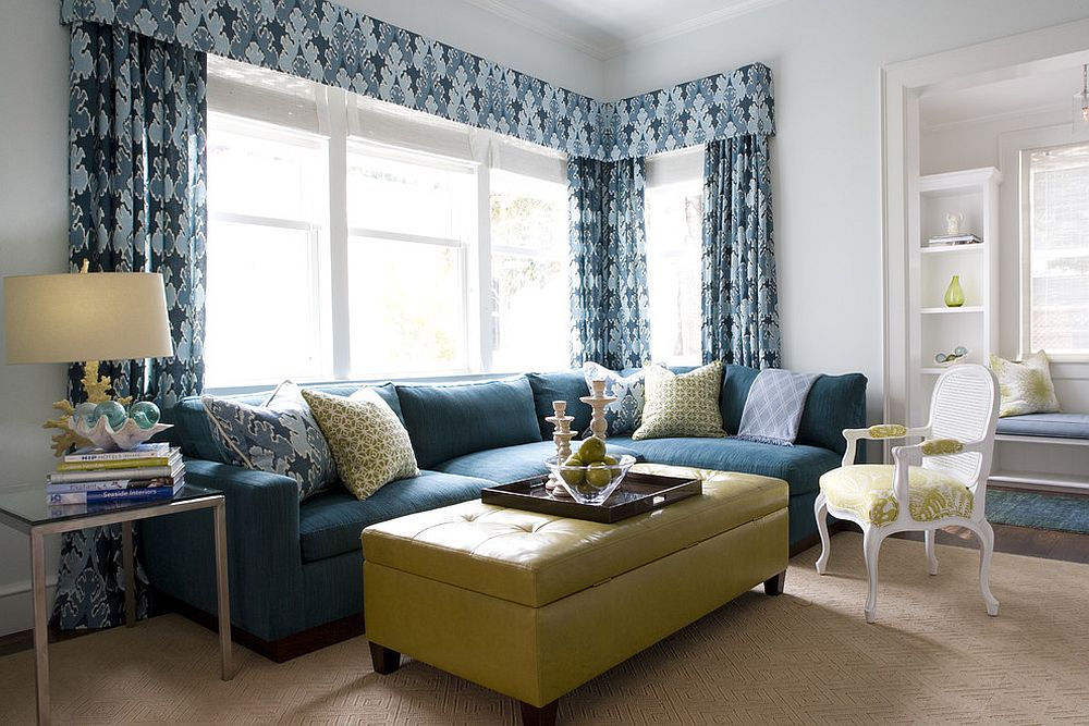 smart combination of yellow and blue in the family room design kendall wilkinson design