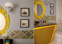 Snazzy bathroom vanity in yellow steals the show in this gray bathroom