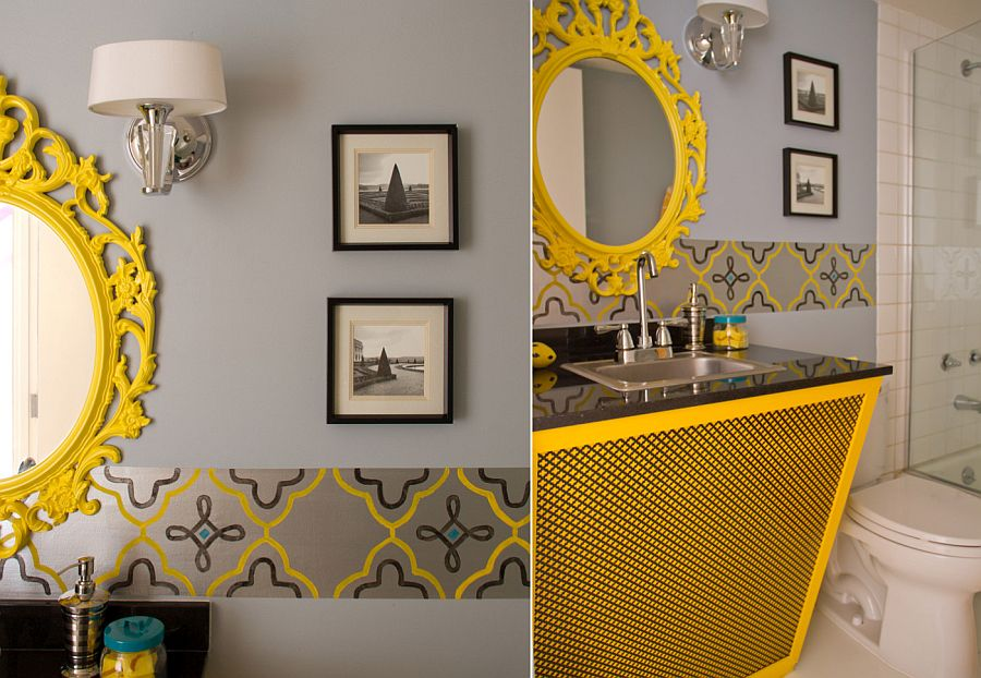 Snazzy bathroom vanity in yellow steals the show in this gray bathroom [From: Marilynn Taylor and Allan Dellatorre / Erika Bierman Photography]