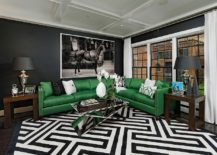 Snazzy contemporary living room with geo style and bold green couch