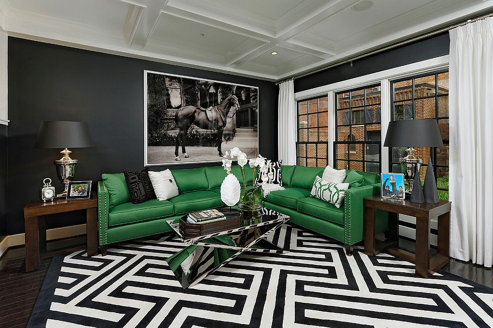 Snazzy contemporary living room with geo style and bold green couch [Design: OPaL]