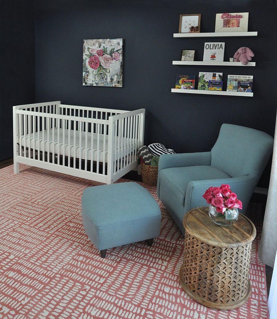Sophisticated nursery design in black and pink [From: Lauren M. Smith Interiors / Mieke Zuiderweg]