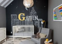 Space savvy gray and black nursery with chalkboard wall 217x155 20 Cheerful and Versatile Ways to Use Black in the Nursery