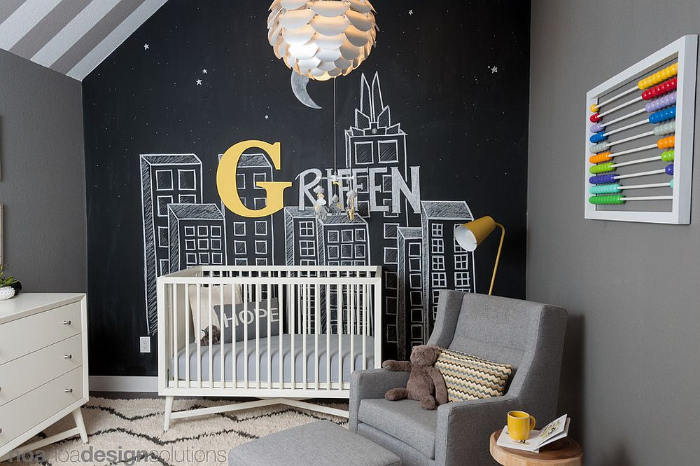 Space-savvy gray and black nursery with chalkboard wall [From: Noa Noa Design Solutions / Erez Peled Photography]