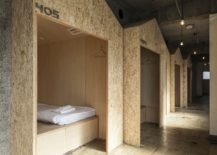 Space savvy sleeping huts inside the Tokyo hostel 217x155 Nifty Conversion Alters Old Beauty Salon in Tokyo into a Charming Modern Hostel