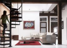 Steel-spiral-staircase-connects-the-lower-level-with-the-top-floor-217x155