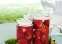 Strawberry centerpiece idea from Paint It Pretty
