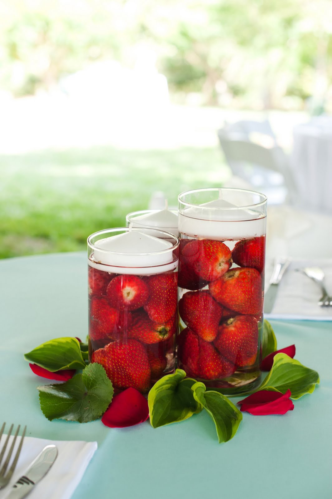 Strawberry centerpiece idea from Paint It Pretty