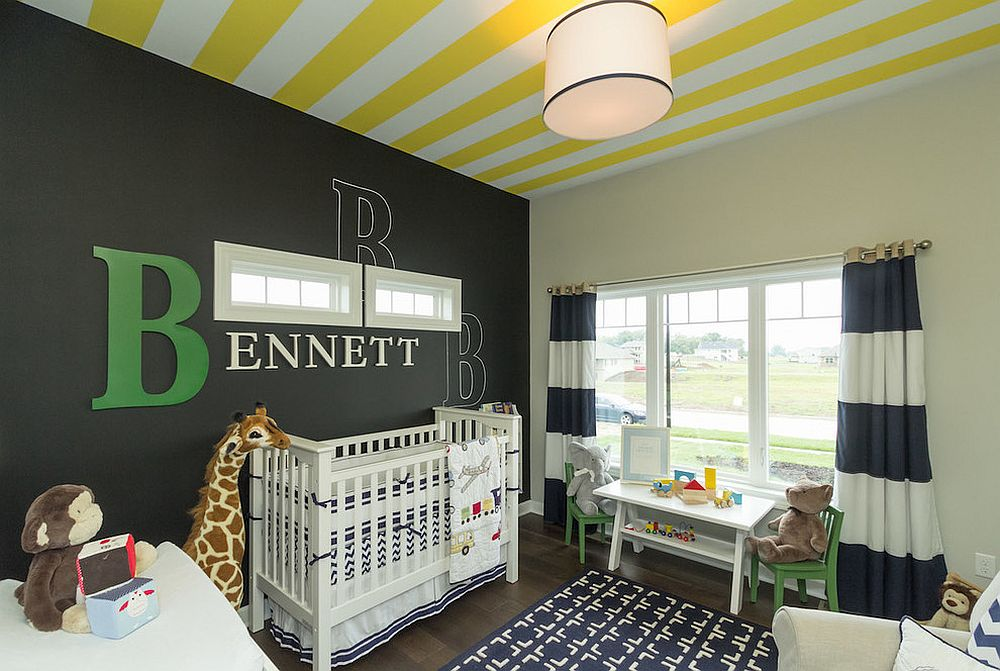 Striped ceiling in white and yellow and accent wall in black for the nursery [Design: Elizabeth Erin Designs]
