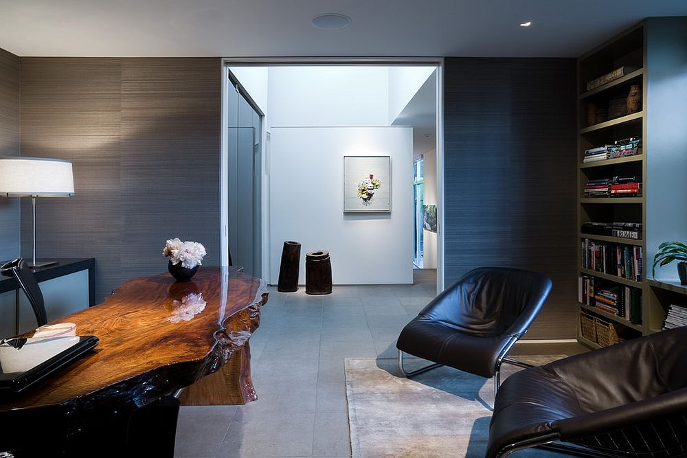 Stunning live edge office desk for the exceptional contemporary home office [Design: R Brant Design]