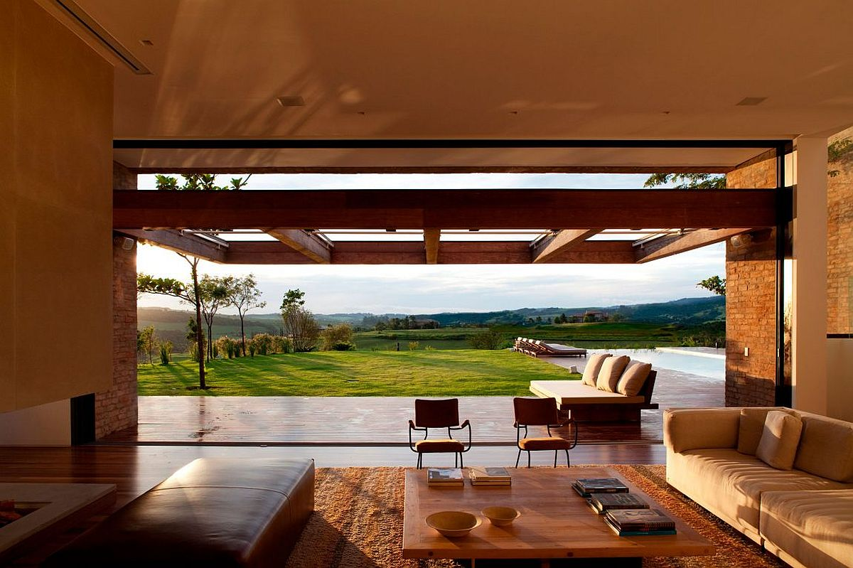 Stunning views of the green landscape and golf course from the stylish Sao Paulo home