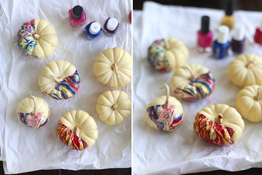 Stylish DIY nail polish marbled pumpkins for a chic Halloween! [From: Say Yes]