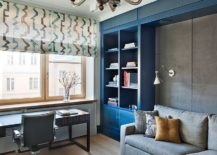 Stylish contemporary home office in gray and blue