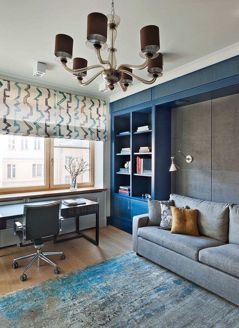 Stylish contemporary home office in gray and blue [Design: Natasha Tkachuk Design and Decoration]