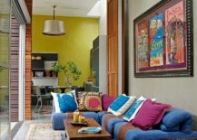 Stylish sofa brings color to the eclectic living room