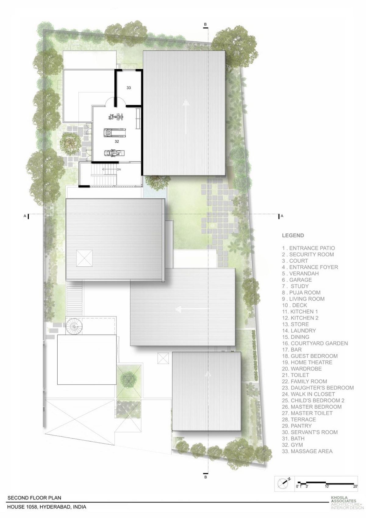 Terrace floor plan of modern house in India