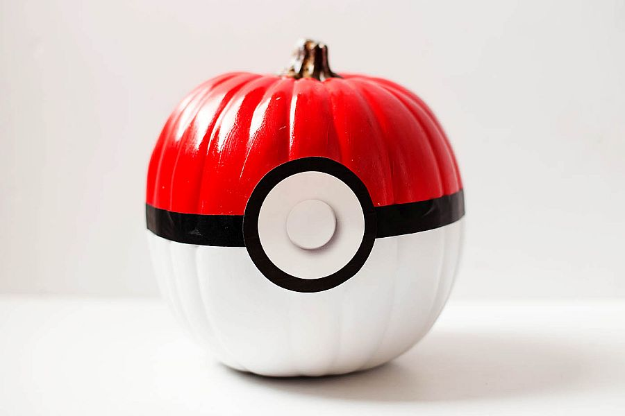 The cool Pokeball pumpkin is easy to create and a hit among DIY lovers